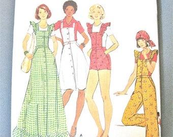 ON SALE Uncut 70s Butterick 4239 Misses' Vintage Sewing Pattern MISSES' Jumper & Overalls jumper straight-legged,  Bias Ruffles Bust 32.5