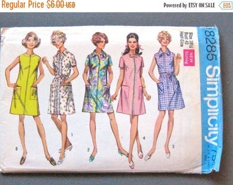 ON SALE Uncut 1960s Simplicity 8285 Dress in Misses' and Half-Sizes Vintage Sewing Pattern  Bust 41
