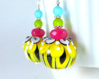 Yellow Chrysanthemum Dangle Earrings, Colorful Fall Jewelry Lotus Flower Earrings Botanical Earrings Floral Lampwork Earrings Nature Jewelry