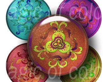 Original Colorful Floral Illustration - Two Sizes  - 126  14 and 12 mm  Circle  JPG images - Digital  Collage Sheet