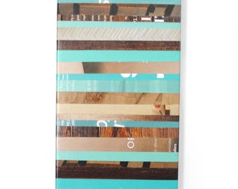 wall art FARMHOUSE color- made from recycled magazines,strips of paper, bright, multi-colored,  art, rectangular, teal, brown, country