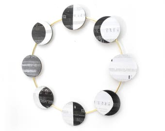 MOON phases wall art - made from recycled magazines, strips of paper, art, design, interior designer,unique, black and white,gold ,astronomy