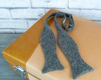 Self tie bow tie - Birdseye Tweed black/grey