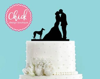 Couple Kissing with Greyhound Wedding Cake Topper
