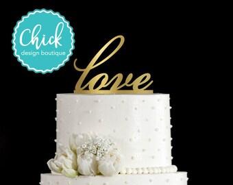 Love in Script Wedding Cake Topper Hand Painted in Metallic Paint