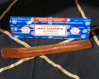 Nag Champa Incense~100 g Box Incense Sticks with Ash Catcher/Incense Burner~Pentacle