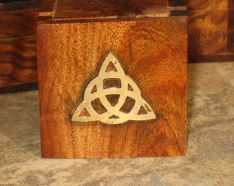 Tiny Wood Box~Triquetra Brass Inlay~Altar Box~Jewelry Box~Pagan Home Decor