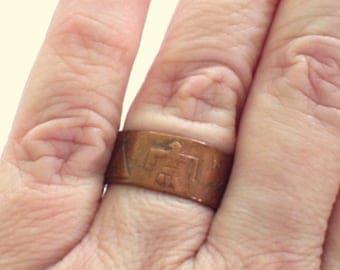 Southwest Tribal Copper Ring, Thunderbird Ring, Vintage Copper Ring Band, Southwestern Copper Ring Band, Size 8 Ring