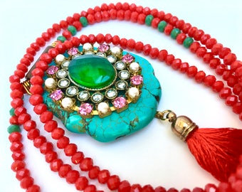 Lipstick Red Tassel necklace, Bohemian necklace, gemstone mala, long beaded necklace with turquoise slab