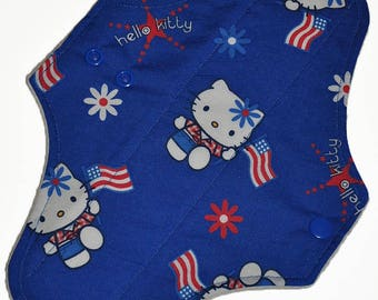 Moderate Hemp Core- Independence Kitty Reusable Cloth Maxi Pad- WindPro Fleece- 10 Inches (25.5 cm)