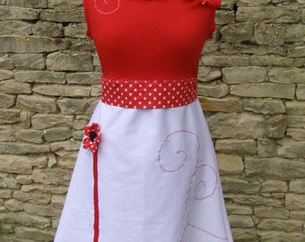 Red and white spirited away and its embossed flowers dress
