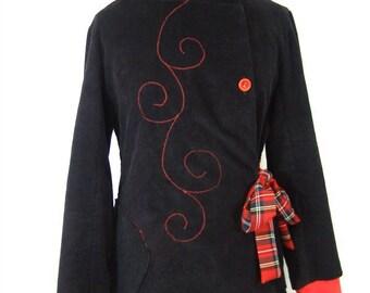 Veste Sadako noire écossaise