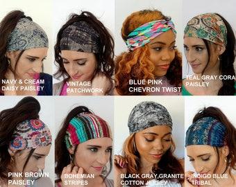 Wide Headband Wrap, No Slip Headband, Head Scarf, Yoga Fitness Headband - Choose ANY 2 - Cotton Jersey Womens Headband - 40 Color Options