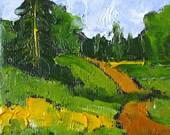 Miniature Impressionist Painting 4x4 Plein Air Landscape Forgotten Road Lynne French