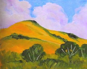 San Luis Obispo Hills Impressionist Painting Plein Air Landscape California Art Lynne French o/c 8x10