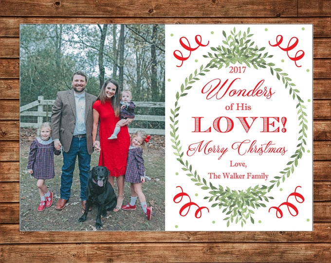 Christmas Holiday Photo Card Wonders of His love watercolor wreath  - Can Personalize - Printable File or Printed Cards