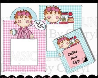 Morning Mama Post It Note Holder Set - Digital Printable - Immediate Download