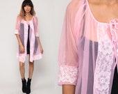 Pink Robe Lingerie Jacket 70s Pastel Sheer LACE Kimono Robe Lingerie Nylon Chiffon Pin Up Romantic 1970s Vintage Pinup Medium