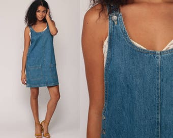 Overall Dress Denim Jumper Dress 90s Mini Jean Shift 1990s Grunge Pocket Blue Normcore Vintage Minidress Sleeveless Smock Medium
