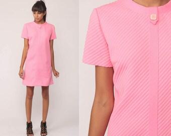 Pink Mini Dress 60s Shift Retro Space Age 1960s Vintage Hipster Gogo Textured STRIPE Twiggy 70s Minimalist Minidress Go Go Medium Large