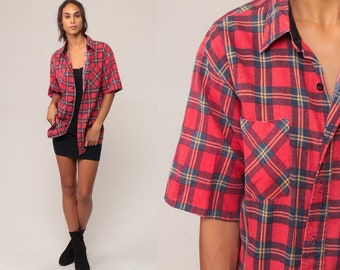 Plaid FLANNEL Shirt Button Up 90s Grunge Flannel Blue Red Checkered Short Sleeve Lumberjack Vintage retro Button Down Large