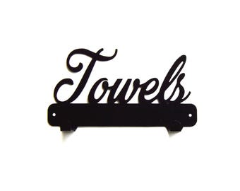 Towels Text Metal Art Towel Rack - Free USA Shipping