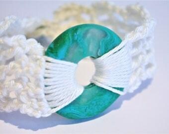 Teal Polymer Clay Crochet Bracelet