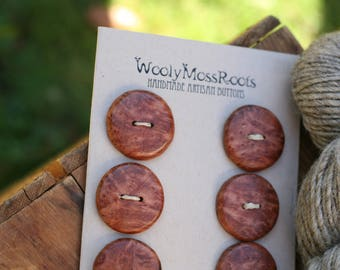 6 Birdseye Maple Burl Buttons- Wooden Buttons- Wooden Buttons- Eco Craft Supplies, Eco Knitting Supplies, Eco Sewing Supplies