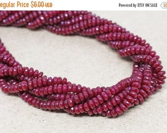 """20% OFF 7.5"""" Gemstone STRAND - Jade Beads - 2x4mm Faceted Rondelles - Raspberry Red (7.5"""" strand, ~80 beads) - str1367"""