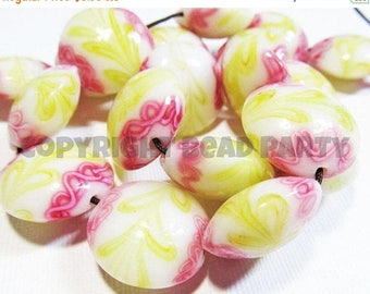 20% OFF LOOSE Lampwork Glass Beads - 20mm Lentils - Pink Lemonade (4 beads) - gla427