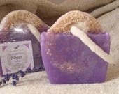 Handcrafted Lavender Peppermint scented Loofah Glycerin Soap, Glycerin Bar Soap 4.5 oz Soap on a Rope