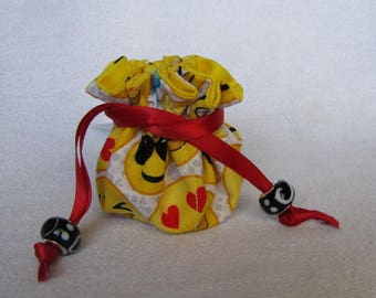 Fabric Jewelry Pouch - Mini Size - Jewelry Bag - EMOJI