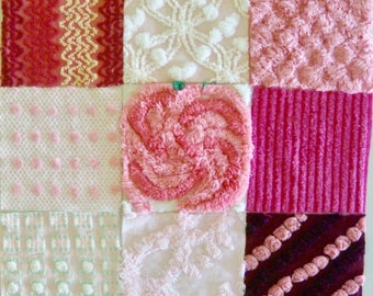 Pink Vintage Cotton Chenille Fabric Patchwork Pillow Kit for 12 or 13-inch Pillow