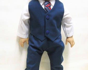 "Navy Dress Suit for Logan and other 18"" Boy Dolls"