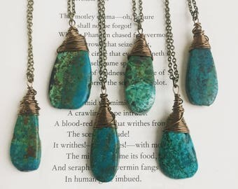 Turquoise Necklace - Genuine Turquoise Pendant on Antiqued Brass Chain - Long Layering Necklace (Ready to Ship)