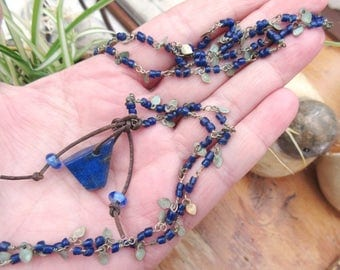 "Rustic Liesse "": a nomadic tribal necklace with lapis lazuli pendant ....."