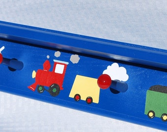 "Kids Shelf with Pegs . 46"" Long . Hat Rack . Wall Hooks . Personalized Coat Rack with Shelf . Train"