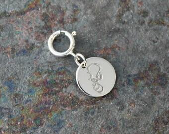 Aquarius Jewelry - .925 Sterling Silver Aquarius Charm w/ Spring Ring Clasp - Zodiac Jewelry - .925 Sterling Silver Fine Jewelry -SHIPS FREE