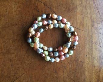 Set of 3 Vintage Freshwater Pearl Bracelets Pink Gray Brown
