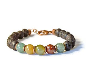 Lava Rock Aromatherapy Diffuser Bracelet with Fancy Jasper and Antique Copper,  Essential Oil Jewelry