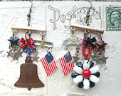 red white blue earrings patriotic mismatched assemblage usa god bless america july liberty bell