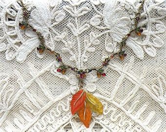 fall leaf necklace assemblage upcycled vintage jewelry autumn cottage chic forest frost pendant cottage chic