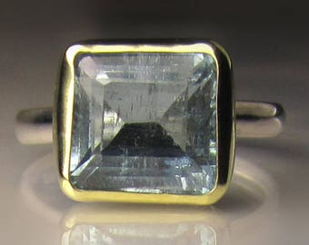 Aquamarine Ring, March Birthstone,  Sterling Silver and 18k Gold