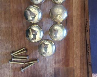 Brass look knobs -7 plus 2 solid brass ones 7 screws