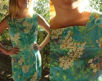 Vintage teal floral midi dress//short dress//boat neck square collar//sleeveless//babydoll dress//size xs-s