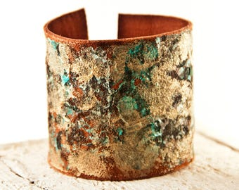 Turquoise & Gold Cuff Wide Bracelet - Leather Jewelry Wristbands - Rainwheel