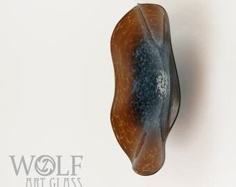 MADE TO ORDER Blown Glass Wall Art Amber Brown and Denim Turquoise Poppy Flower Glass Wall Platter