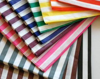 Free U.S. Shipping - 7 x 9 Size Traditional Sweet Shop Candy Stripe Paper Bags - Weddings Parties Gifting - 7 x 9 Choose Your Color