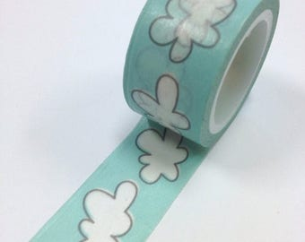 25% Off Summer Sale Washi Tape - 20mm - Puffy White Clouds on Blue - Deco Paper Tape No. 962