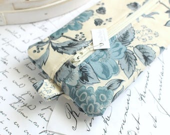 Blue Floral Pencil Case Zipper Bag Navy Blue and Cream Pencil Case Back to School Students